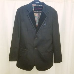 Robert Graham Black Sport Jacket Velvet Lapel Sz L